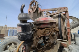 One of the 3 concrete mixers the Afghans have on post while working on our new recreation area (concrete basketball court/sand volleyball court).