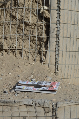 An abandoned magazine on the HESCOs