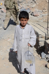 A boy & his catheter bag