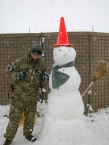 his first ever experience with snow was in Afghanistan. He made the snowman with the help of a Romanian soldier