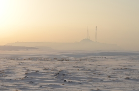 The Castle in the snowy sunrise