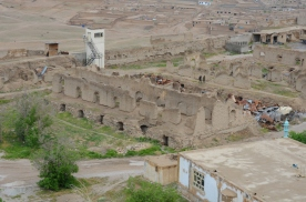 another view of the collapsed mud-wall buildings