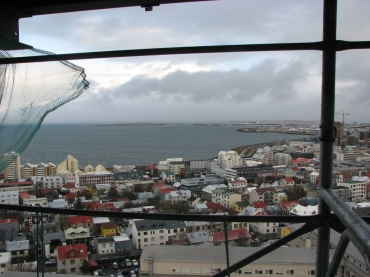 looking out the tower of the Hallgrimskirja