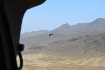 The Blackhawk against a mountain backdrop