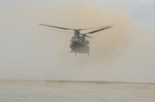 CH-47 Chinook coming in to FOB Apache