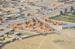 The Qalat lumberyard from the air