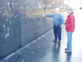 Dad & I at the Korean War Memorial, December 2007