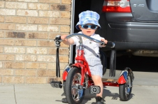 Sam is way cool on his new trike