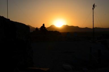 Sun going behind the mountain