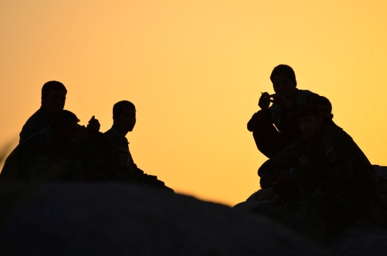 ANA Soldiers gather to enjoy the evening on the Al Masaak hill