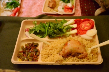 fresh vegtables included radishes, onion, mint leaves, cilantro and tomatos, we also had seasoned rice, chicken and okra.